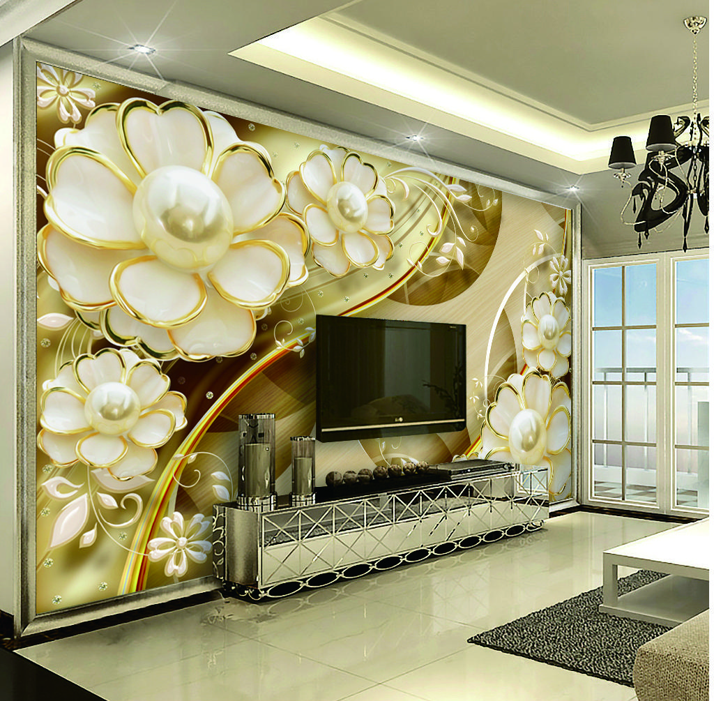 Decoration 3d Murale Custom Retail 3d Luxury Jewelry Flower Indoor Tv Background Wall Decoration Mural