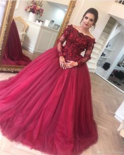 Supreme Off Shoulder Wine Red Ball Gown Colorful Wedding Dresses Beaded Lacetulle Arabic Women Colorful Bridal Gowns Non Black Weddingdress Off Shoulder Wine Red Ball Gown Colorful Wedding Dresses Bea