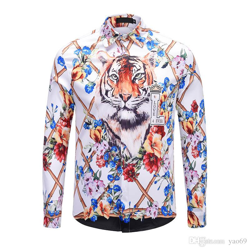 Hot Size M-2XL Asian Size / 2019 New Fashion Print Slim Shirt Men\u0027s