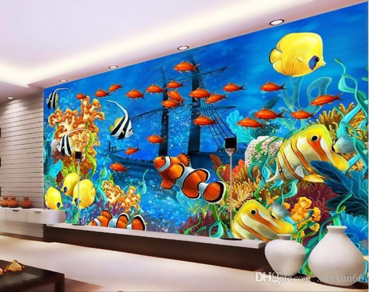 Wandtattoo Unterwasserwelt Custom Mural Modern Ocean World Tropical Fish Photo 3d