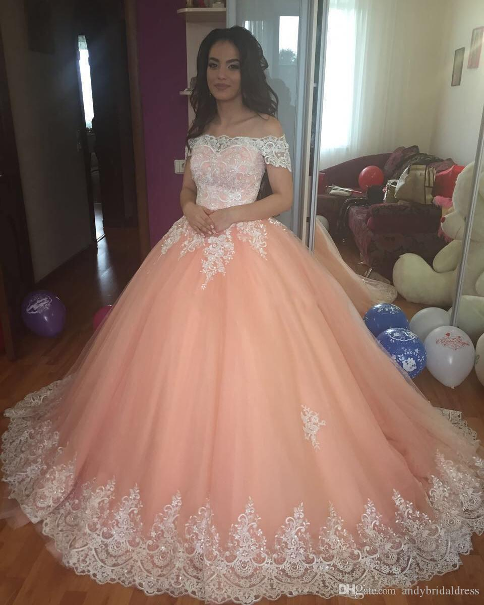 2018 White Lace Ball Gown Quinceanera Dresses Bateau Neck
