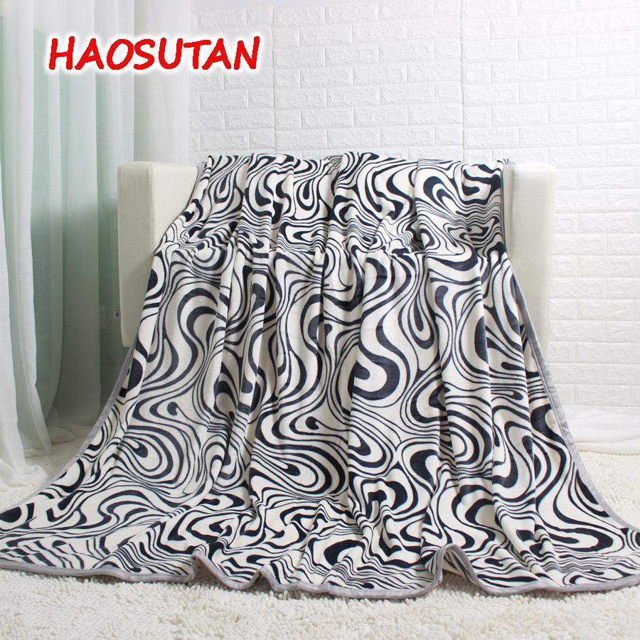 Sofa King Queen Haosutan Thick Black Zebra Stripe Flannel Blanket Sofa Couch Bedding Throw King Queen Size Bed Sheet Fleece Blanket