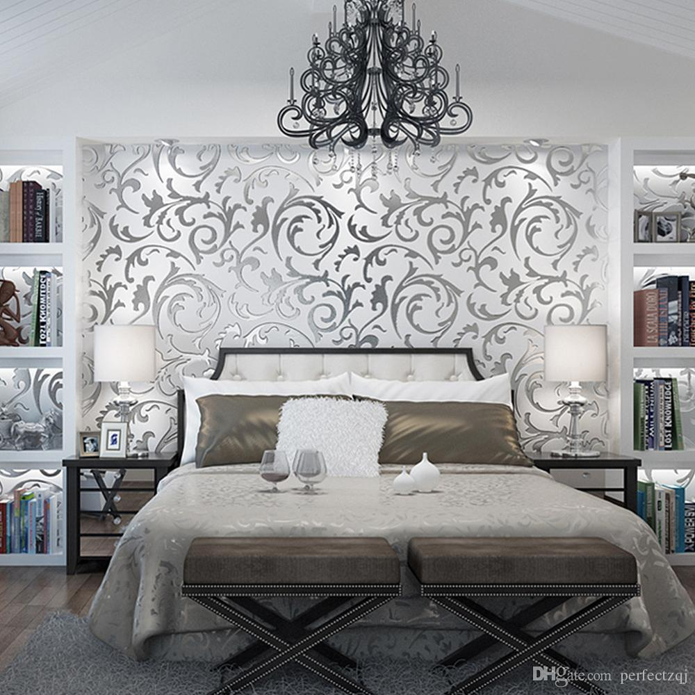 Wallpapers For A Bedroom Hot Sale Silver Gold Foil Wallpaper European 3d Stereo Lang Leaves Non Woven Wallpaper Bedroom Living Room Tv Backdrop Wallpapers
