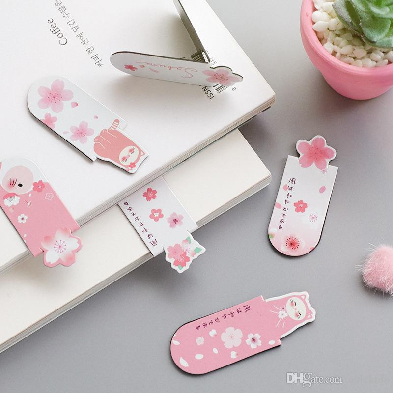 2019 Kawaii Sakura  Cat Magnetic Bookmarks Books Marker Of Page