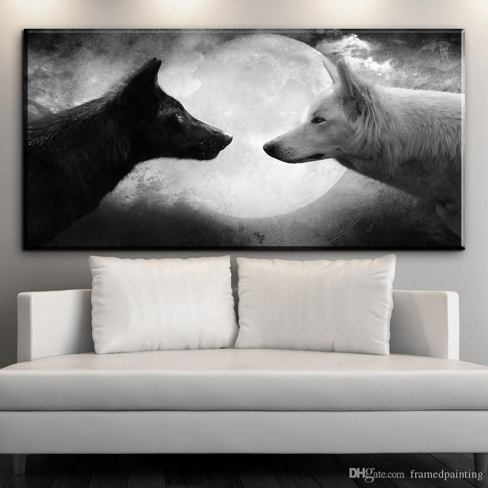 Black And White Canvas Pictures Modern Canvas Art Black Wolf Vs White Wolf Moon Night Canvas Pictures Animal Oil Art Painting For Livingroom Bedroom Wall No Framed