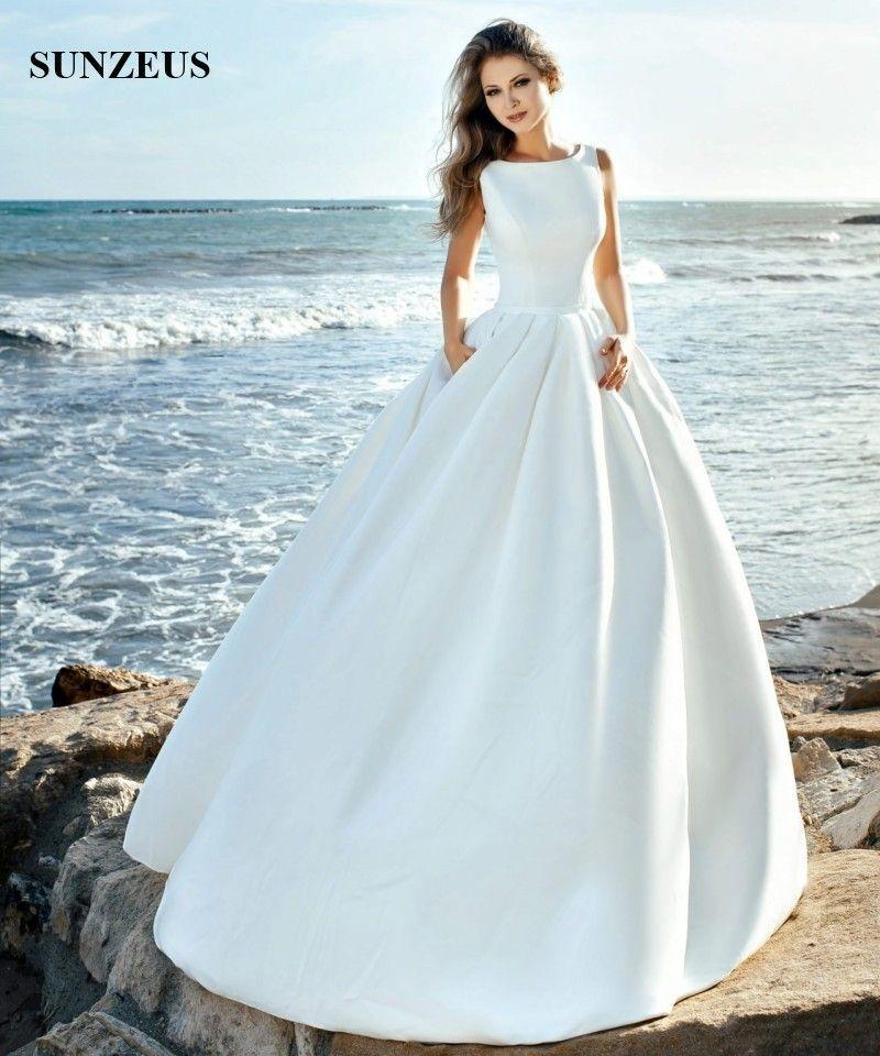 Discount Simple Elegant Satin Wedding Dresses 2018 New Design Scoop