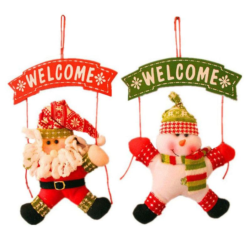 Hot Sale WELCOME Santa Claus Snowman Tree Door Christmas Decoration