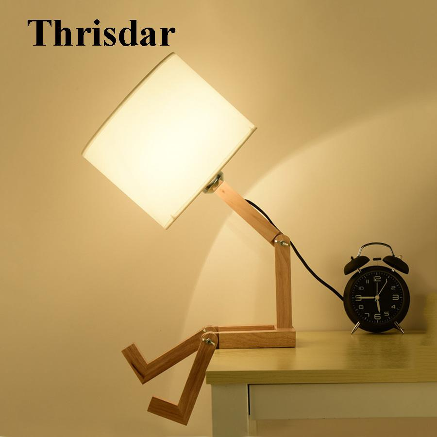 Study Table Light Thrisdar Diy Foldable Robot Wooden Table Lamp With E27 Holder Cloth Creative Bedroom Bedside Desk Light Reading Study Desk Light
