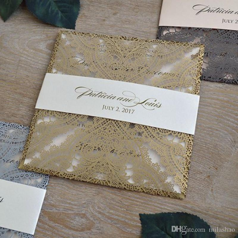 Gold Invitation Card Stock With Envelopes And Insert Cards Lace