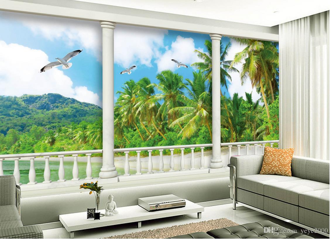 Castle Wall Wallpaper Kid Room 3d Hd Wall Papers Home Decor Designers Aegean Sea Coconut Tree