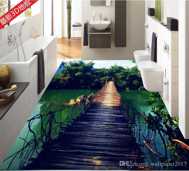 3d Floor Wallpaper Online Pvc Vinyl Flooring Tiles Wooden Bridge Bamboo Sky Water