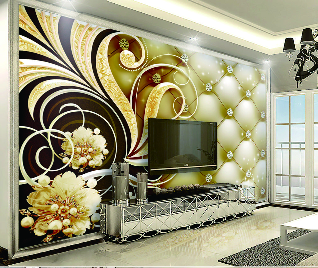 Wall Decoration Murale Custom Retail Victorian Royal Diamond Soft Bag Interior Wall Decoration Mural