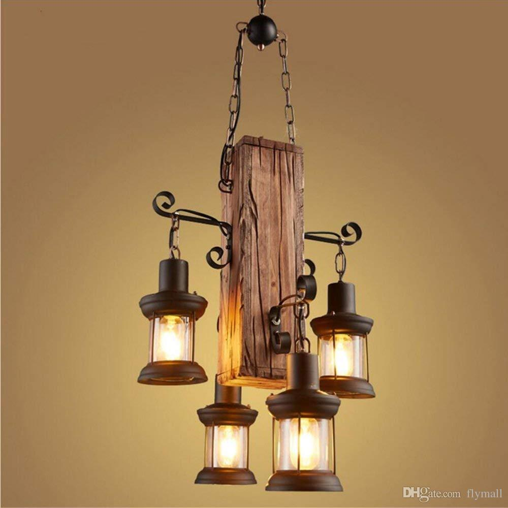 Industrial Vintage 4 Heads Industrial Vintage Retro Wooden Metal Painting Chandelier Light Pendant Lamp For Home Hotel Bar Garage Decorate Lighting Fixture