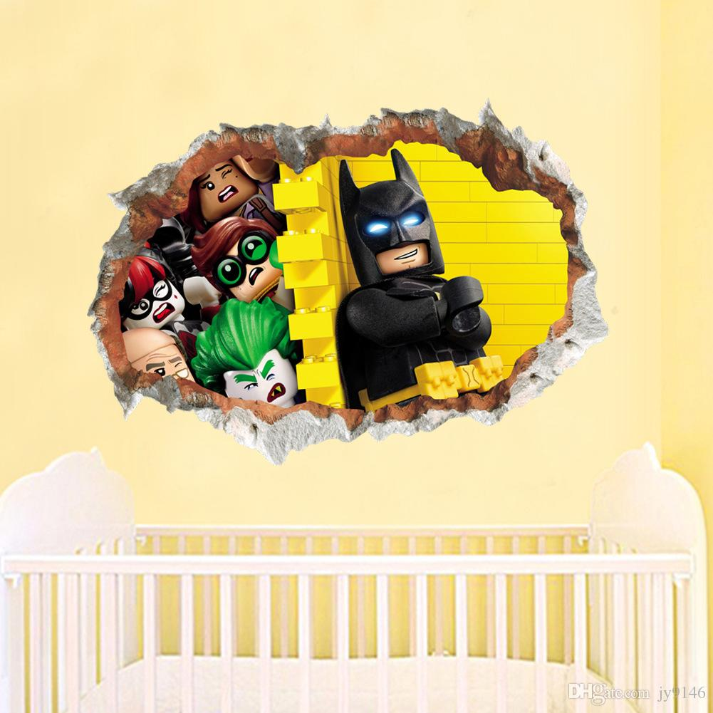 Kinder Wandtattoo 3d Cartoon Batman Wandaufkleber Kinder Wandtattoo Gebrochenes Wandbild Tapete Kinderzimmer Und Kindergarten Dekoration
