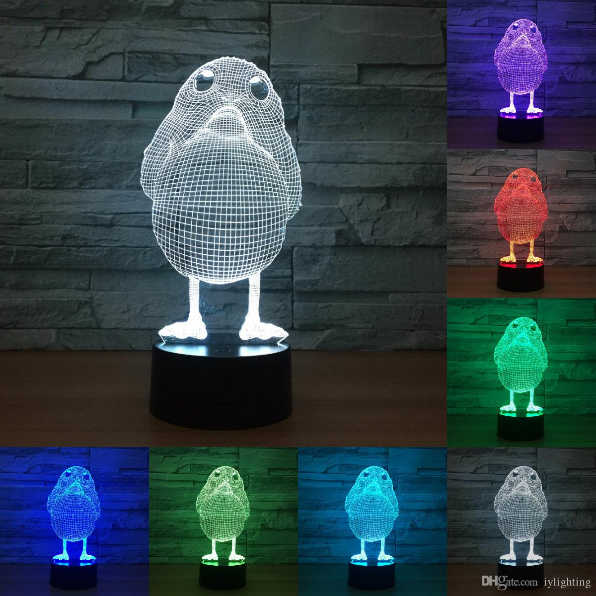 Lampara Led Colores Pollo Modelo Illusion 3d Lámpara Led 7 Colores Cambiantes Luz De Noche Animal 3d Visual Led Night Lights Escritorio Lámpara De Mesa Iy803309