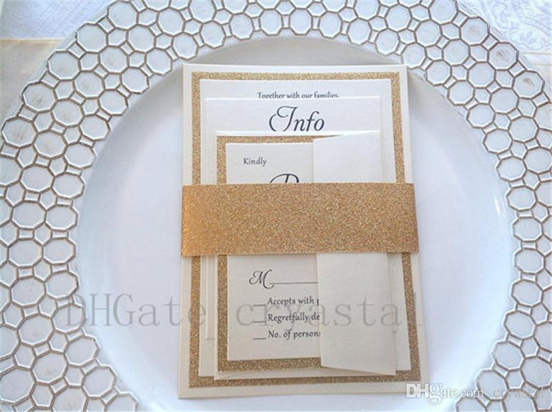 Glitter Wedding Invitations, Gold Ivory, Champagne Invitations, RSVP