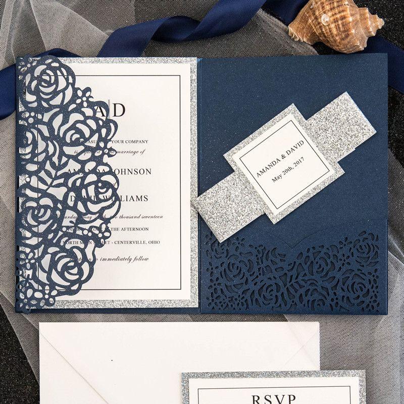 2019 Hot Sale Navy Blue Laser Cut Luxury Tri Folded Wedding