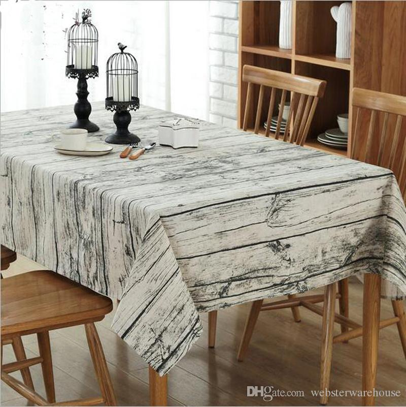 Retro Wood Grain Style Rectangle Tablecloth Cotton  Linen Table