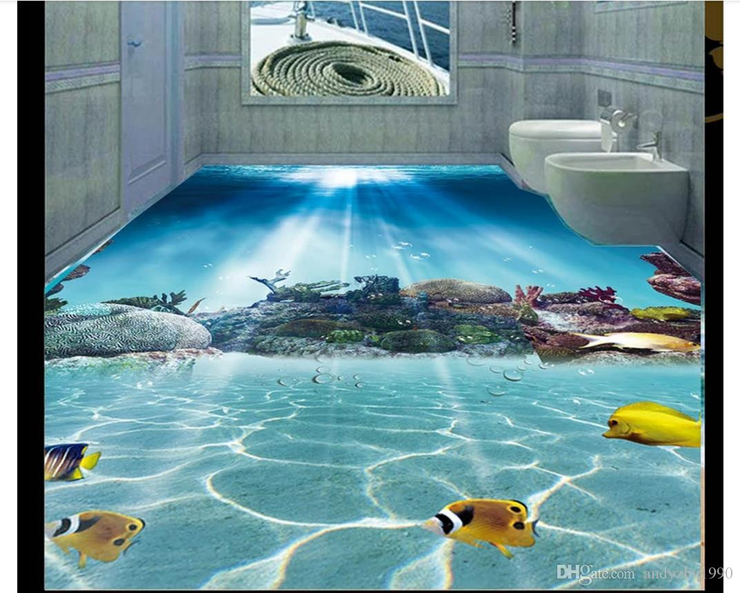 Wallpaper Murals For Bathrooms Wholesale 3d Pvc Flooring Waterproof Self Adhesive 3d Custom Wall Murals Wallpaper Undersea World Coral Fish Bathroom 3d Floor Wall Sticker
