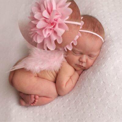 Sweet Cute Baby Girls Headwear Pink Flower Wings Headband Costume