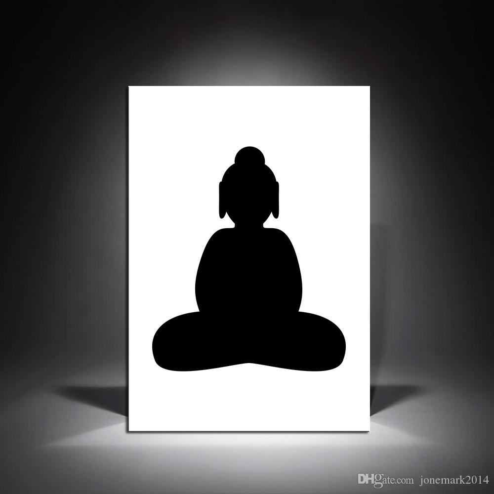 Black And White Canvas Pictures 1 Pcs Black White Buddha Hd Canvas Oil Paintings For Living Room Modern Home Decor Pictures Wall Art No Framed