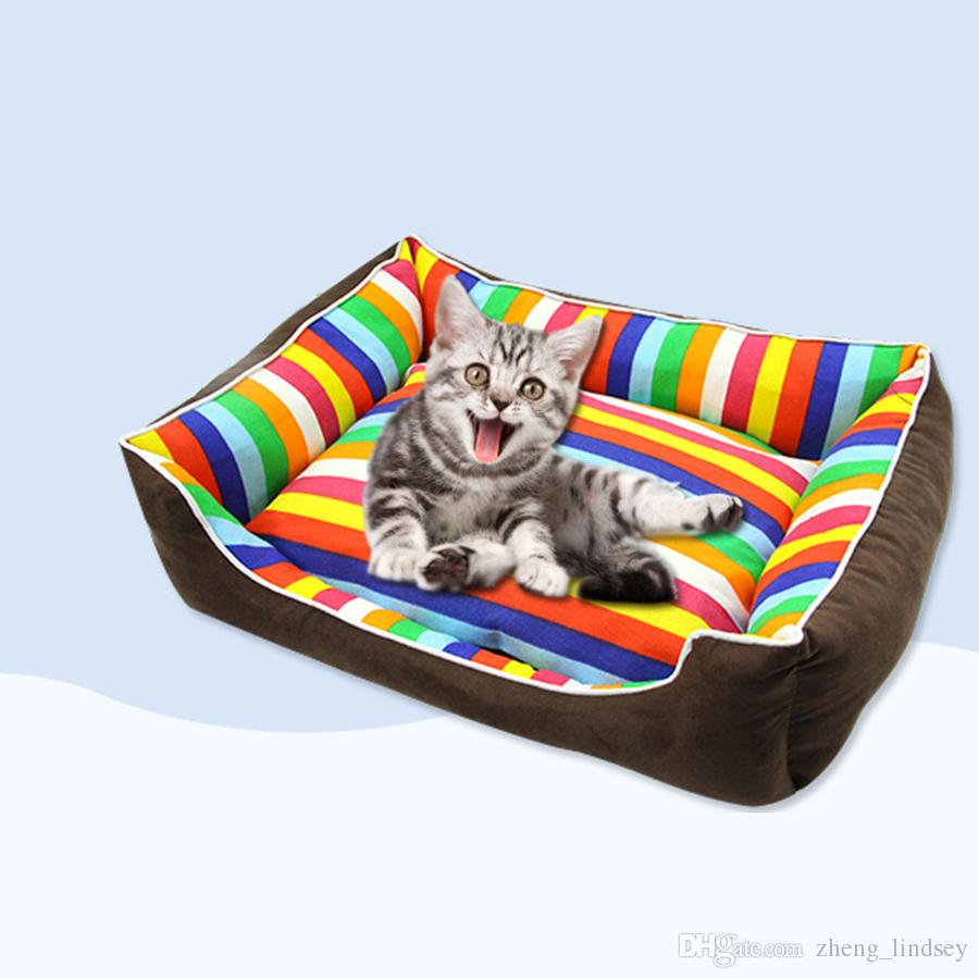 Dog Beds Pet Rainbow Colorful Stripe Pet Bed For Animals Puppies Dog Beds For Large Dogs Cat House Dog Bed Mat Cat Sofa Cushion Supplies