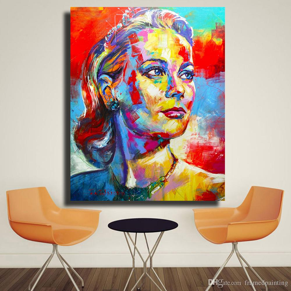 Pittura Acrilica Su Tela Video Grace Kelly Portrait Pittura A Olio Acrilico Su Tela Stampe D Arte Per Soggiorno Home Decor No Frame