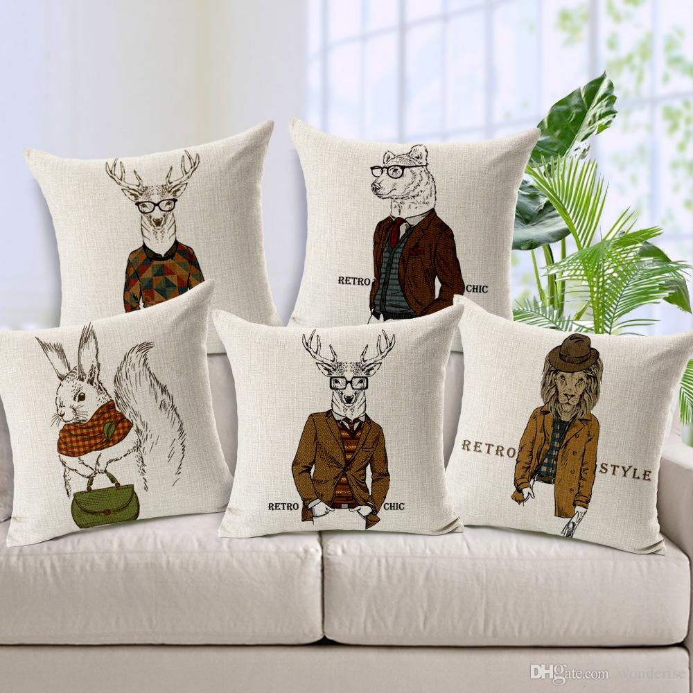 Sofa Throws Retro 5 Styles Hipster Animals Cushion Covers Retro Chic Deer Stag Lion Wolf Rabbit Cushion Cover Sofa Decorative Linen Pillow Case