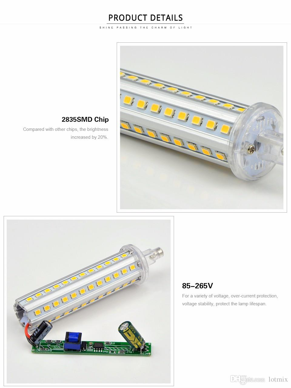 R7s Led Dimmable Dimmable 220v Led R7s Horizontal Plug Light Lamp Spot Light 5w 10w 12w 15w 78mm 118mm 135mm 189mm For Floodlight Spotlight Blub