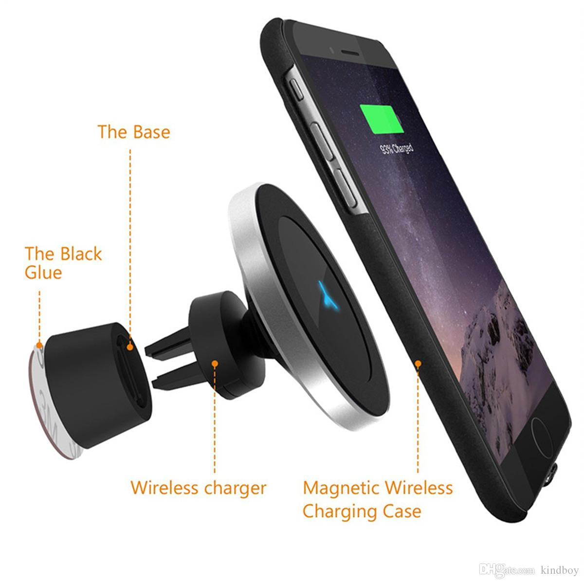 Iphone Cordless Charger Magnetic Wireless Charger Fast Charging W5 For Apple Iphone Samsung Galaxy Qi Pad Quick Holder 360 Degree Stand Phone Car Chargers Adapter