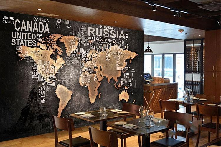3D Stereo Retro Nostalgic World Map Mural European English Letter - best of world map for wall mural