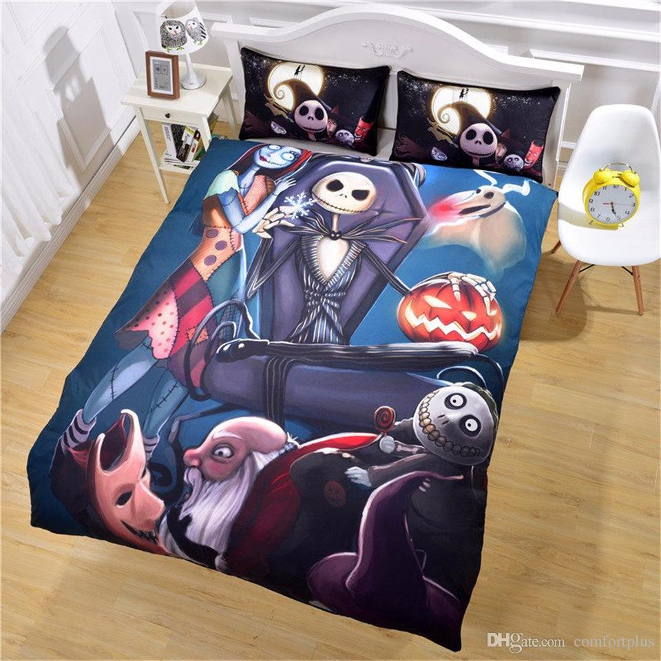 Jack Skellington Bettwäsche New 3d Nightmare Before Christmas Bedding Set Of 3pc Duvet Cover Set Quilt Cover With Pillowcase Twin Full Queen King Size 4 Designs