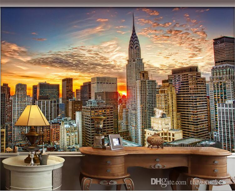 3d Effect Wallpaper For Living Room Photo Wallpaper Beautiful New York City Sunset Landscape