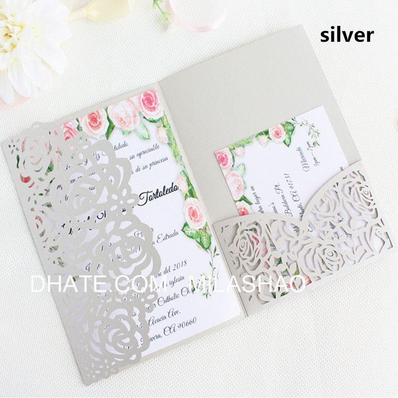 Rose Wedding Invitation Card Silver Ivory Tri Fold Pocket Laser Cut