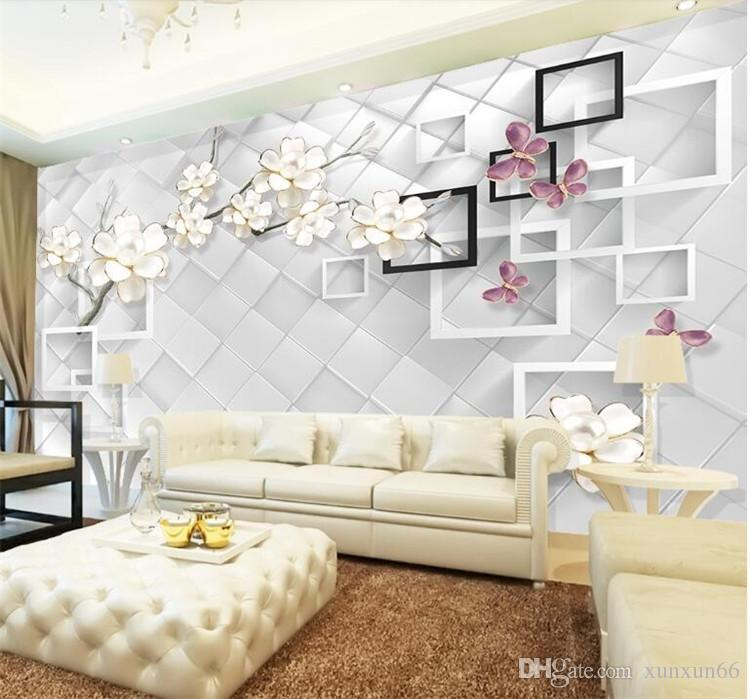 Custom 3D Photo Wallpaper White Flower Jewelry 3D TV Background