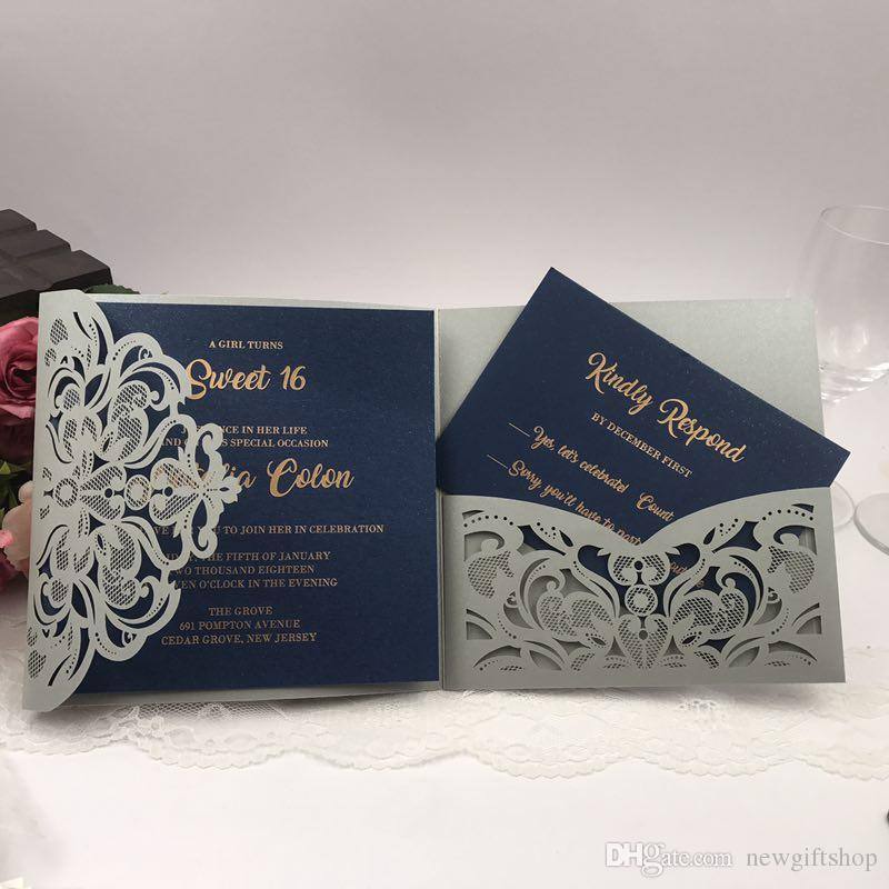 Navy Blue Flower Laser Cut Pocket Wedding Invitation Kits Customized