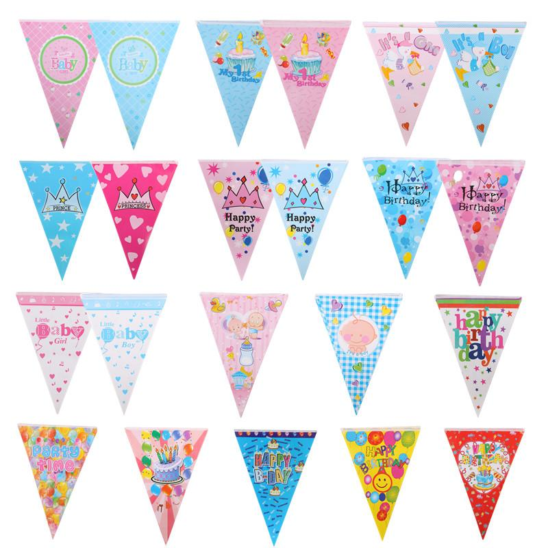 Happy Birthday Banners Pulling Flag Welcome Baby Crown Balloons