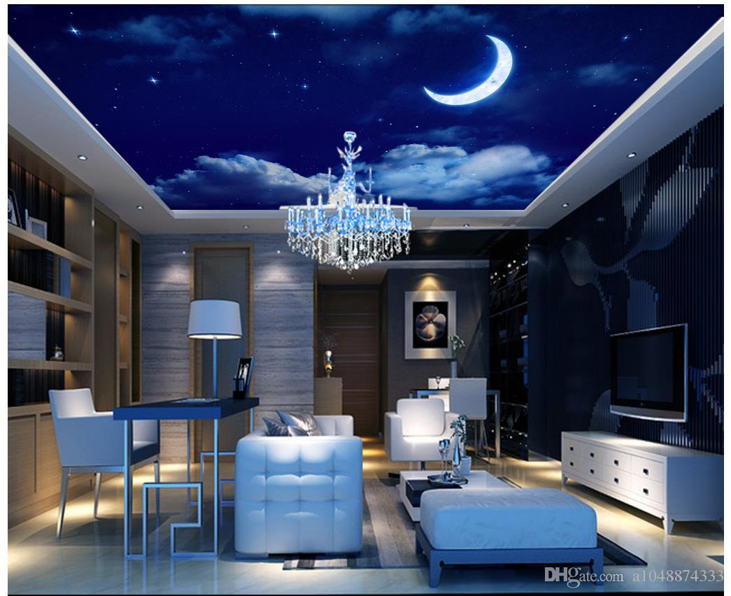 Plafond Western Union Papier Peint 3d Photo Personnalisée Plafond Papier Peint Mural Dream Night Sky Starry Moon Salon Zenith Ceiling Fresco Zenith Décoration Murale