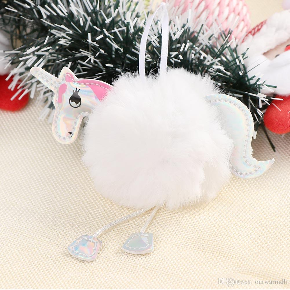 Christmas Tree Decorations Fluffy Unicorn Ornaments Fur Ball Pom Pom Horse Pendant New Year Gifts Decorations 2019 Seoproductname