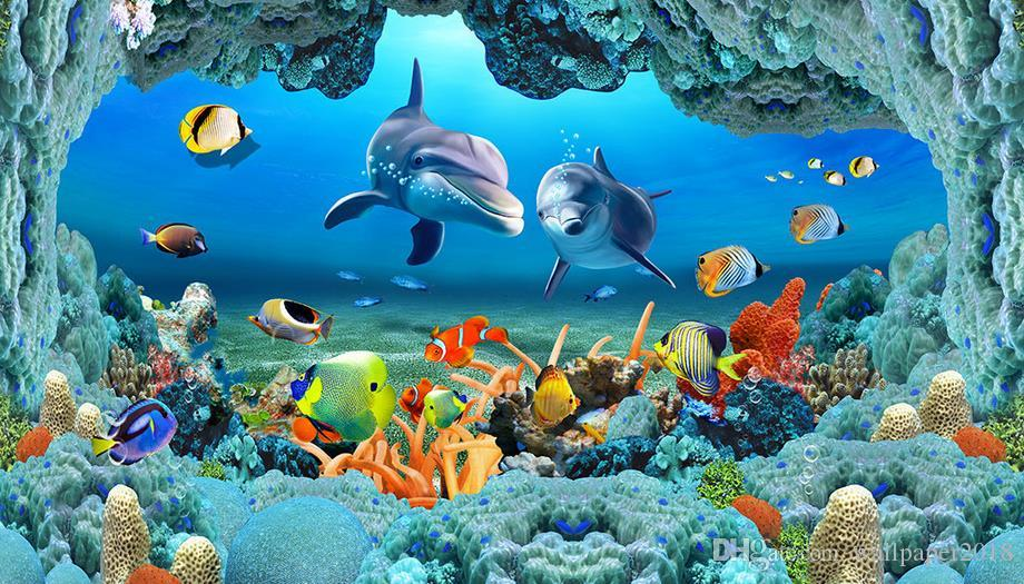 Living 3d Dolphins Animated Wallpaper Windows 7 Wallpaper For Walls 3d Sea World Underwater Caves Dolphin