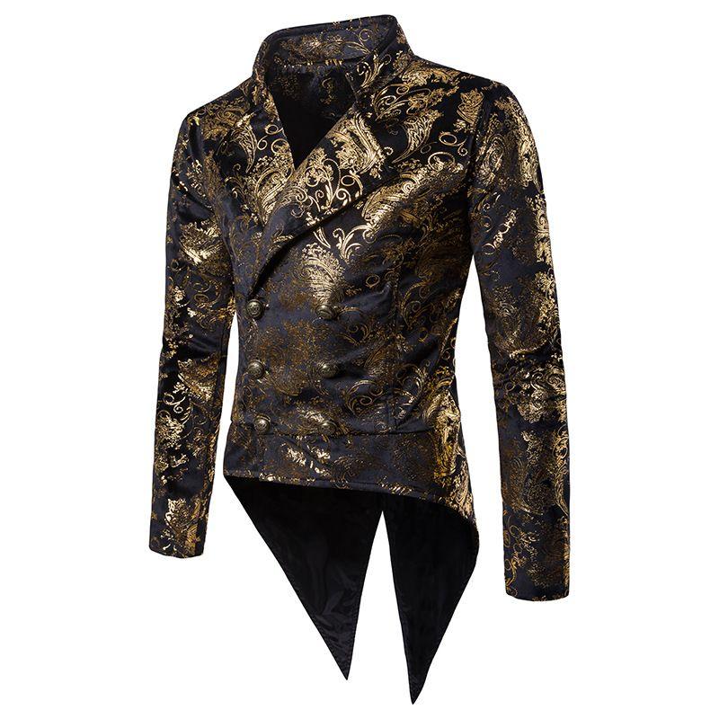 2019 Fashion Luxury Bronzing Flower Mens Blazers Costume Tuxedo