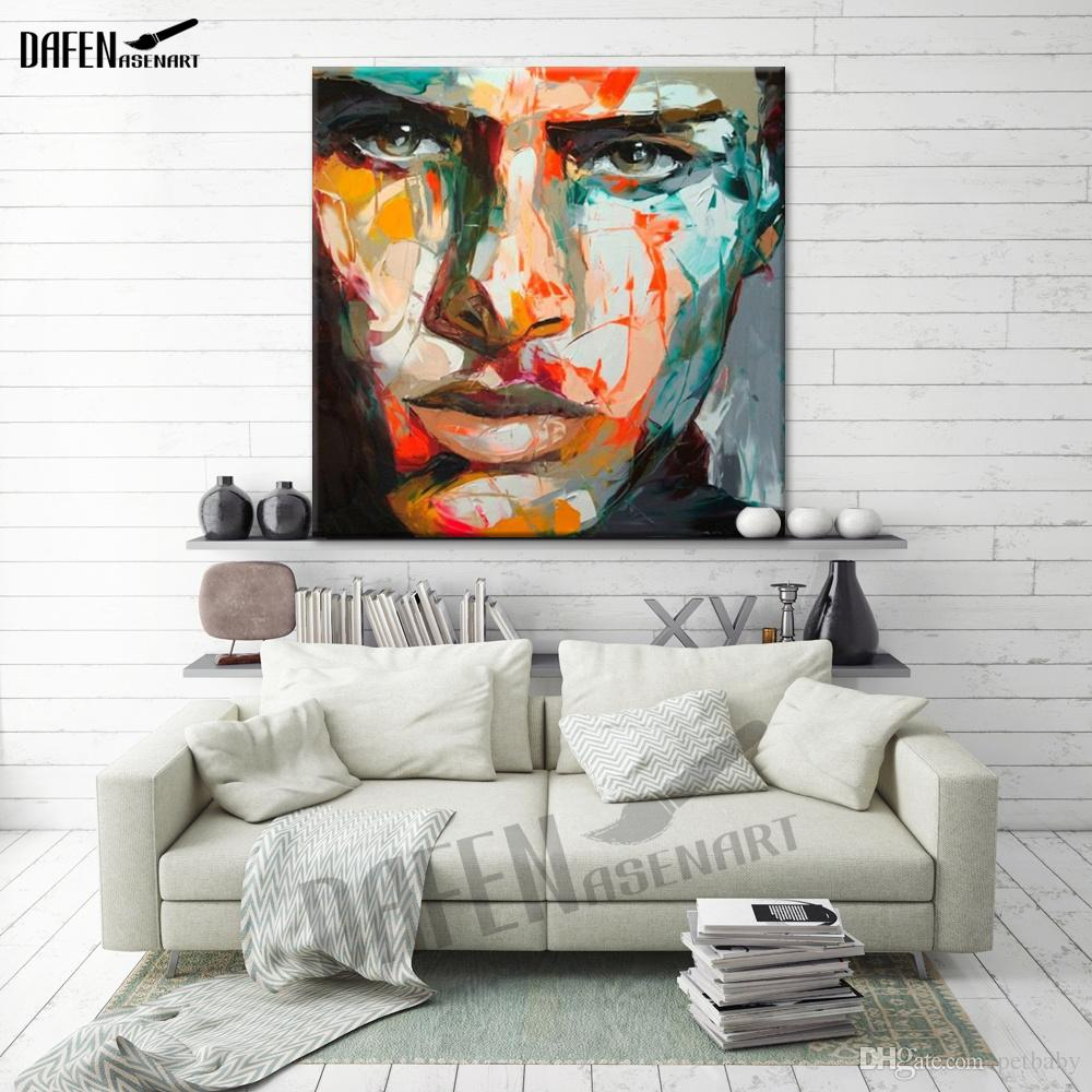 Palette Decoration Death Stare Palette Knife Figure Picture Abstract Hand Painted Oil Painting On Canvas Wall Decoration For Bar Home Dinning Room
