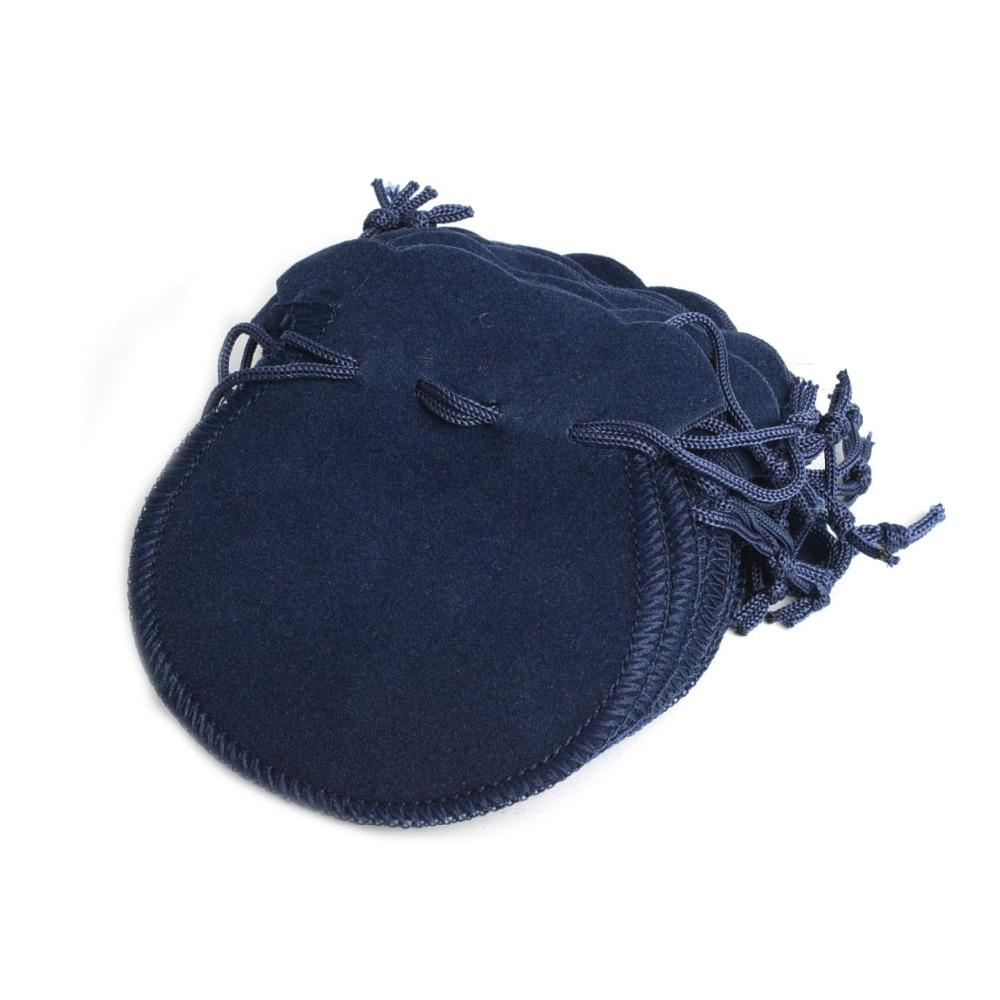 Wholesale Velvet Jewelry Pouches 100pcs Lot Dark Blue Velvet Drawstring Jewelry Pouches Bag Xmas Party Bridal Birthday New Year Wedding Gift Bags 70 80mm