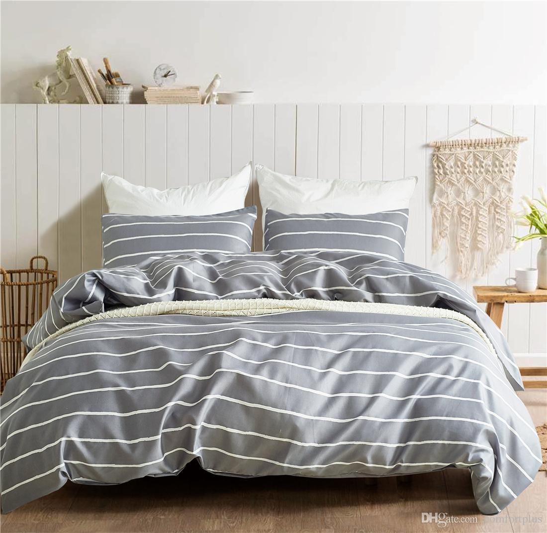 King Duvet New Gray Stripe Geometric Design Bedding Set Of 2pc 3pc Duvet Cover Set Quilt Cover Pillowcase Twin Queen King Size