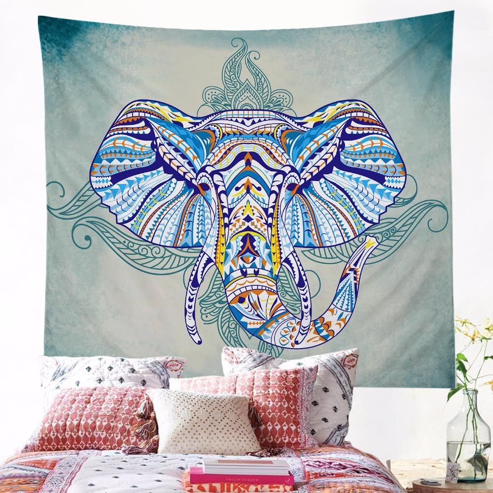 Tagesdecke Elefant Elephant Tapestry Wall Hanging Animal Twin Hippie Tapestry Blue Boho Hippy Bohemian Dorm Decor 150x150cm Bedspread