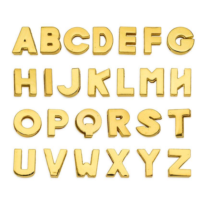 More Options 8mm English Alphabet Letters A-Z Gold Plain Slide