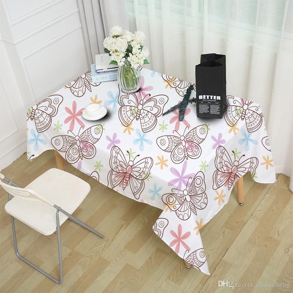 Decoration Nappe De Table Papillon Nappe Étanche Dîner Table Cloth Flying Papillons Décoration Table Cover Pastoral Lavable