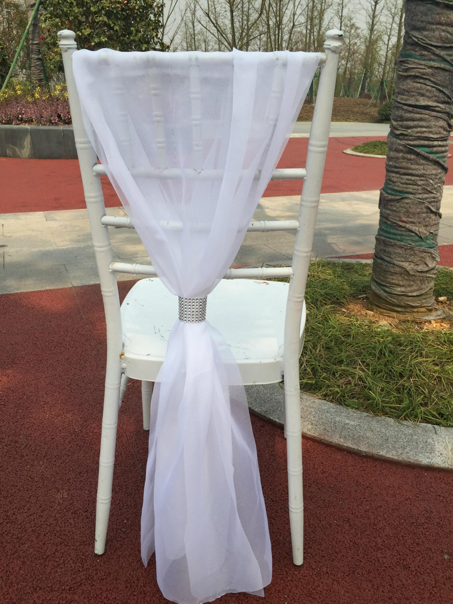 Chair Cover 2018 Romantic Elegant Outdoor Wedding Chair Ribbon Sashes With Buckle Birthday Party Event Courtyard Chair Cover Decor Wedding Chair Bows
