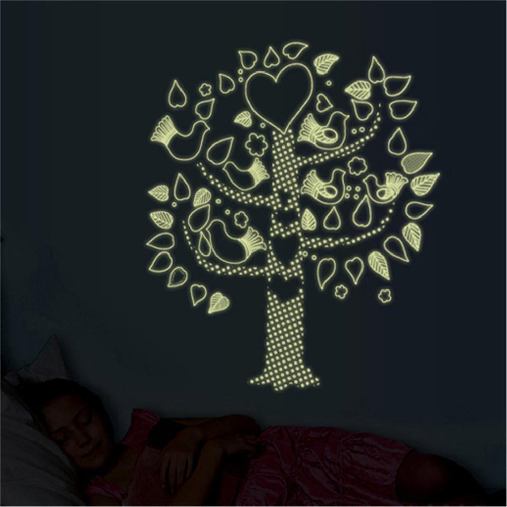 Decoration Lumineuse Murale Diy Fleur Oiseau Arbre Lumineux Sticker Mural Autocollants Autocollants Décoration De La Maison Salon Chambre Decal Fluorescent Mural