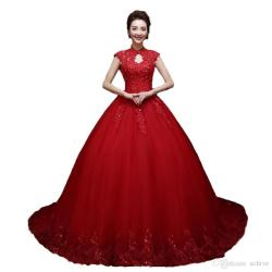 Garage Fashion Red Wedding Dresses Ball Gown Neck Wedding Gowns 2018 Capsleeves Applique Lace Beaded Corset Lace Up Formal Chapel Bridal Gown Greekwedding Fashion Red Wedding Dresses Ball Gown Neck We